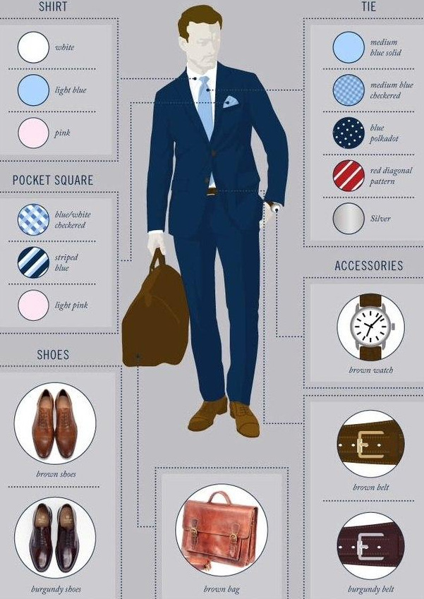 what to wear a navy blue suit